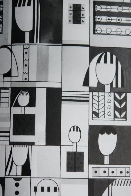 """Jacqueline Groag's monochrome """"Cleo"""" textile design"""