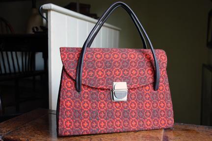 vintage orange Welsh wool tapestry handbag