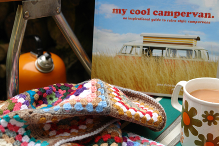 My Cool Campervan book with vintage mug, crochet blanket and orange camping kettle