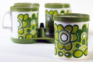 vintage Staffordshire Pottery mug set