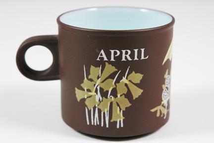"vintage ""April"" mug produced by Hornsea Pottery"