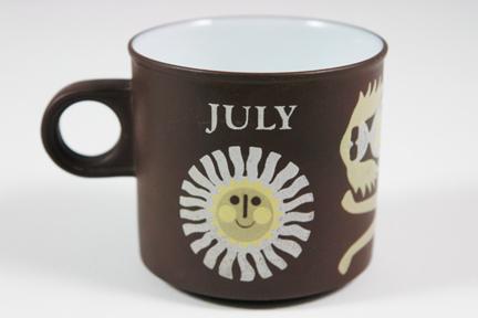 "vintage ""July"" mug produced by Hornsea Pottery"